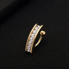 CZ Navel Crystal Ring Dangle Body Stud Piercing Belly Bar/Barbell Gold Zircon