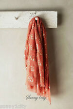 NEW Anthropologie Clover Field Scarf by SAACHI Coral color Beautiful print, NIP