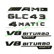 "For Mercedes Benz Emblems Badge Decoration""GLC 43+AMG+4MATIC+BITURBO""Gloss Black"