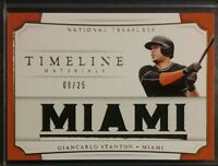 2017 National Treasures Timeline Materials GIANCARLO STANTON Jersey /25 Gold