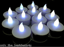 12 x WHITE COLOUR LED TEA LIGHT CANDLES TEALIGHT TEA LIGHTS WITH BATTERIES NEW