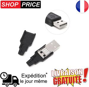 Connecteur USB Standard Male A DIY Fiche à Souder avec boitier