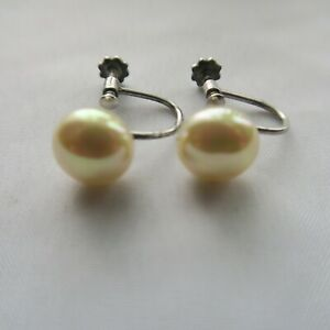 Vintage South Sea Pearl Earrings Screw Back