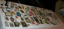 HUGE LOT OLD Catholic Prayer Card Rosaries Medal Necklaces Coin Religious Statue