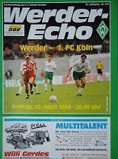 Programm 1993/94 SV Werder Bremen - FC Köln