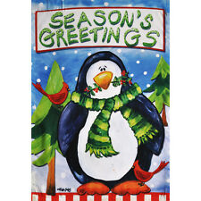 HOLIDAY PENGUIN SEASON'S GREETING PORCH FLAG 28 X 40 SEASONAL 10-1744-110 WINTER