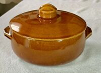 Vintage MCCOY POTTERY Covered Bean Pot - Brown w Lid Casserole