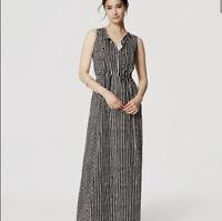 Ann Taylor Loft Maxi Dress Size Medium Black White Geometric Pullover Keyhole