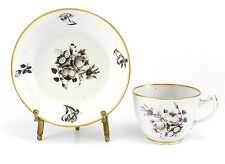 Chinese Export Porcelain Cup & Saucer c1790 Hand Painted Black Floral, Gilt Rims