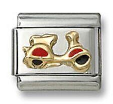 Motorbike Italian Red Enamel 9 mm Stainless Steel Link Bracelet Christmas Gifts