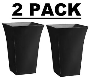 2 Pack 44cm Top Quality Lightweight Tall Black Shiny Decorative Deluxe Planter