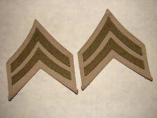 Original 1920s -1930s USMC CORPORAL Chevrons - OD melton on Khaki Cotton