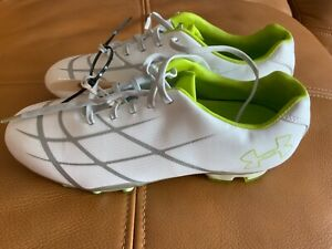 Under armor white lime cleats soccer football FG Sz US 7 youth 24cm  new MA
