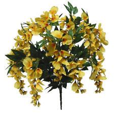Yellow Wisteria Bush Poly Silk Wedding Home Decor Craft Flower Filler