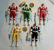 Mighty Morphin Power Rangers Flip Heads 1993 W/Accessories Lot Of 5 - Bandai