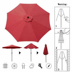 Burgandy 9ft Table Umbrella Outdoor Garden Patio Crank Ratcheting Folding 8 Ribs