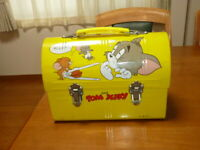 Tom & Jerry Dome Lunch Box Lunchbox Yellow Vintage
