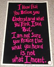 YOU UNDERSTAND Flocked Blacklight Text Poster 1974 Dargis 3279 Work Place Office