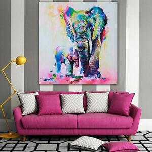 EY_ JP_ Multicolor Elephant Canvas Painting Frameless Pictures Living Room Decor