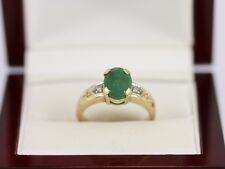 Diamond and Emerald Solitaire Ring 9ct Gold Ladies Size N 3.3g AT53