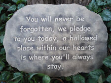 Memorial plaque plastic mold plaster concrete mould You wiill never be forgotten