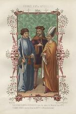 CHROMOLITHOGRAPHIE HOMME NOBLE ET BOURGEOIS XIVe & XVe  MOULIN  LITHOGRAPHE 1858