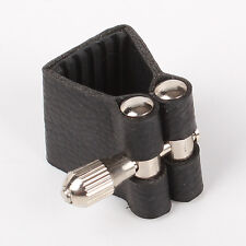 Black Leather Ligature for Soprano Saxophone Mouthpiece