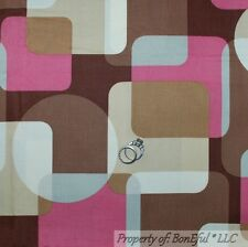 BonEful FABRIC FQ Cotton Quilt Brown Pink Gray L Cream Dot Retro Hippie Mod Girl