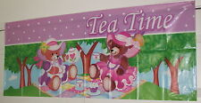 "Lot of 4 Banners - Bears Having a Tea Party 20"" x 49"" Free Stickers!"