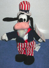 """DISNEY STORE EXCLUSIVE 4TH OF JULY UNCLE SAM GOOFY 9"""" PLUSH BEAN BAG TOY"""