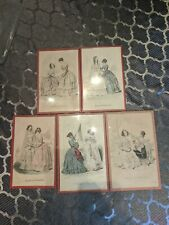 5 Antique 1870s French Fashion Prints Under Glass