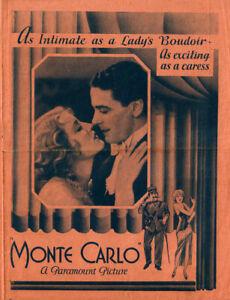 Monte Carlo Original Movie Herald from the 1930 Movie