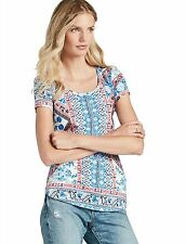 Lucky Brand - NWT - XS - Diamond Tile Batik Scarf Print Cap Sleeve Slub Knit Tee