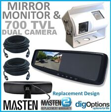 :4.3 LCD Rearview Mirror Monitor with Dual Twin View CCD Cameras and Cables Fit
