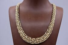 Technibond Bold Graduated Wheat Chain Necklace 14K Yellow Gold Clad Silver QVC