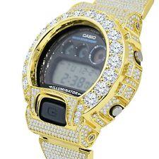 Solitaire Custom Authentic Casio G-Shock DW 6900 Yellow Gold 2 Tone Men's Watch
