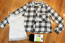 New Justice Tights S White Cami Divided Plaid Button Up Shirt 3 pc Lot Girls Sz