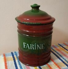 Vintage French Enamel Ware Canister Brown Green farine Shabby Chic