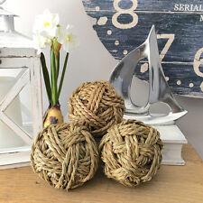 Set of 3 Handmade Natural Seagrass Decorator Balls/Coastal/Hampton's
