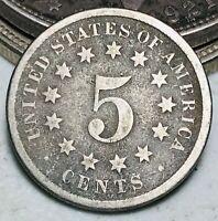 1869 Shield Nickel 5 Cents 5C Ungraded Good Date Civil War Era US Coin CC6607