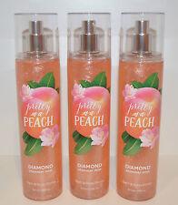 3 Bath & Body Works Pretty As A Peach Diamond Shimmer Mist Fragrance Spray Lot