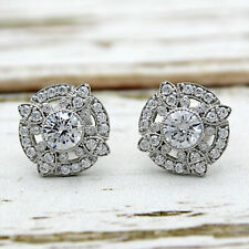 2.00 ct Round Cut Diamond Vintage Art Deco Stud Earrings 14k White Gold Over