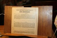 Antique Florida East Coast Railway Car Certificate From Florida Keys