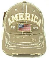 USA 76 Cap Distressed Unconstructed Dad Hat 100/% Cotton Adjustable OSFM NWT
