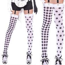 Sheer White Diamond Harlequin Polka Dot Black Spandex Clown Thigh High Stockings