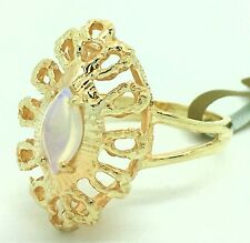 Opalite Raised Design 14k Yellow Gold Ring