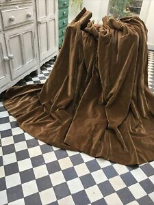 "Dark Bronze Vintage Cotton Velvet Curtains  114"" Wx 52"" L, 283 x 140cm each"