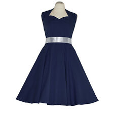 Rockabilly 50er dos-nu robe jupon pin up party coton s/m 101 Bleu
