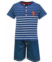 Official Boys USPA US Polo Stripe T-Shirt & Denim Shorts Set 12M 18M 2 3 4 5 6 7