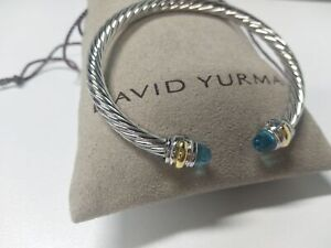 CLASSIC DAVID YURMAN WOMEN'S CABLE BRACELET WITH BLUE TOPAZ 585 14K GOLD 5MM NEW